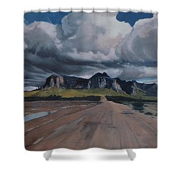 Storm Over The Superstitions Shower Curtain