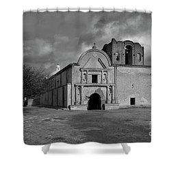 Shower Curtain featuring the photograph Storm Over Tumacacori II by Sandra Bronstein