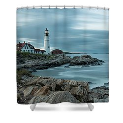 Storm Passing At Portland Head Light Shower Curtain