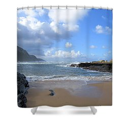 Storm River Beach Shower Curtain