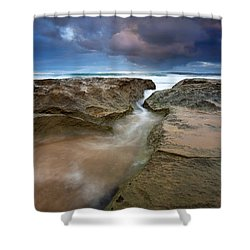 Storm Surge Shower Curtain by Mike  Dawson
