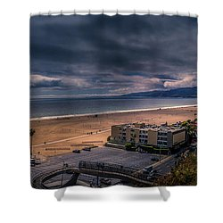 Storm Watch Over Malibu - Panarama  Shower Curtain