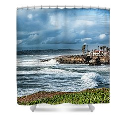 Storm Wave At Sunset Cliffs Shower Curtain by Daniel Hebard