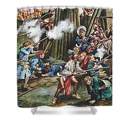 Storming Of The Fortress Of Neoheroka Shower Curtain by Ron Embleton