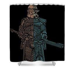 Stormtrooper Samurai - Star Wars Art - Minimal Shower Curtain