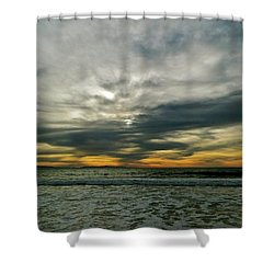 Stormy Beach Clouds Shower Curtain