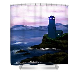 Shower Curtain featuring the painting Stormy Blue Night by Susan Kinney
