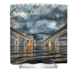 Stormy Chesapeake Bay Bridge Shower Curtain