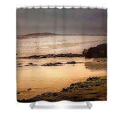 Shower Curtain featuring the photograph Stormy Day At Gallows Beach by Wallaroo Images