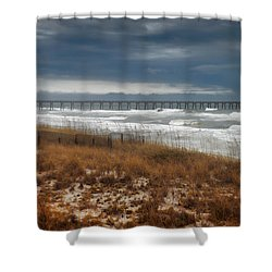 Stormy Day At The Pier Shower Curtain