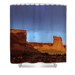 Shower Curtain featuring the photograph Stormy Desert by Chad Dutson