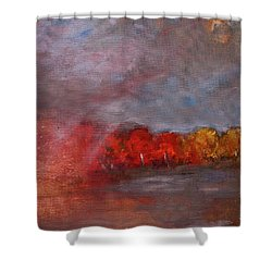 Stormy Fall Landscape Red Yellow Leaves Shower Curtain by Gray Artus