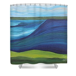 Stormy Lake Shower Curtain by Annette M Stevenson