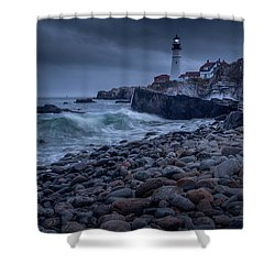 Stormy Lighthouse Shower Curtain