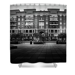 Stormy Morning At North Church Condos In Black And White Shower Curtain