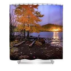 Shower Curtain featuring the photograph Stormy Night At Round Lake by Cat Connor