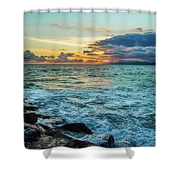 Shower Curtain featuring the photograph Stormy Ocean Sunset by April Reppucci