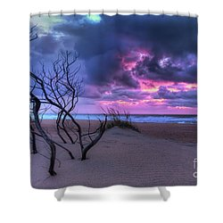 Stormy Outer Banks Sunrise And Bush Shower Curtain