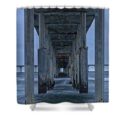 Stormy Pier In Ocean Beach Shower Curtain