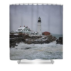 Stormy Portland Head Light Shower Curtain