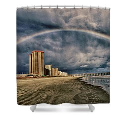 Shower Curtain featuring the photograph Stormy Rainbow by Kelly Reber
