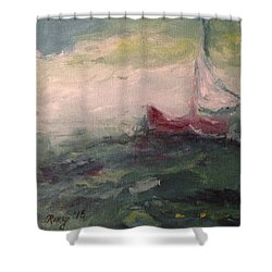 Stormy Sailboat Shower Curtain