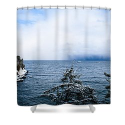 Stormy Seas Shower Curtain by Jill Laudenslager