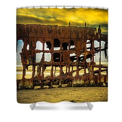 Stormy Shipwreck Shower Curtain by Garry Gay