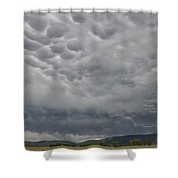 Shower Curtain featuring the photograph Stormy Skies In Wyoming by Sandra Bronstein