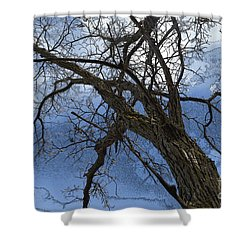 Stormy Sky Blue Shower Curtain