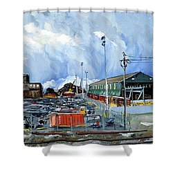 Stormy Sky Over Shipyard And Steel Mill Shower Curtain by Asha Carolyn Young
