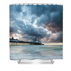 Stormy Sunrise Over Eastbourne Pier Shower Curtain