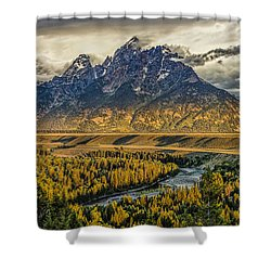 Stormy Sunrise Over The Grand Tetons And Snake River Shower Curtain