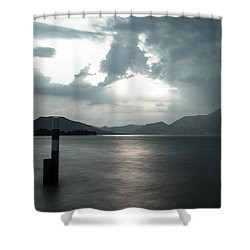 Stormy Sunset On The Lake Shower Curtain