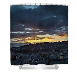 Stormy Sunset Over Happy Valley Oregon Shower Curtain by David Gn