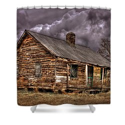 Shower Curtain featuring the photograph Stormy Times Tenant House Greene County Georgia Art by Reid Callaway
