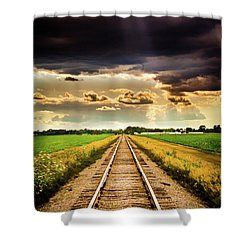 Stormy Tracks Shower Curtain