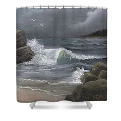 Stormy Waters Shower Curtain by Sheri Keith