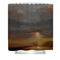 Stormy Waterscape Sunset Seascape Marsh Painting Shower Curtain