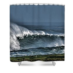 Stormy Winter Waves Shower Curtain by Shirley Mangini