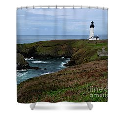 Stormy Yaquina Head Lighthouse Shower Curtain