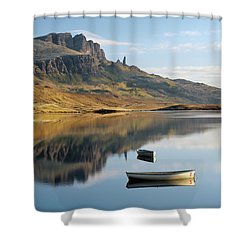 Shower Curtain featuring the photograph Storr Reflection by Grant Glendinning