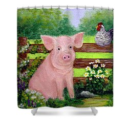 Storybook Pig Shower Curtain by Sandra Estes