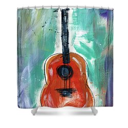 Storyteller's Guitar Shower Curtain by Linda Woods