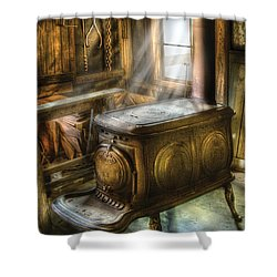 Stove - A Warm Cozy Stove Shower Curtain by Mike Savad