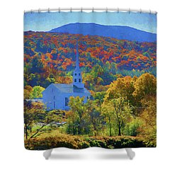 Shower Curtain featuring the photograph Stowe Vermont Church In Fall by Jeff Folger