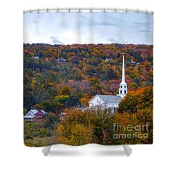 Stowe Vermont In Autumn Shower Curtain by Catherine Sherman