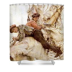 Shower Curtain featuring the painting Stowing The Headsails  by Henry Scott Tuke
