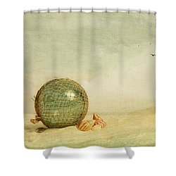 Stranded On A Sand Bar Shower Curtain by Theresa Tahara