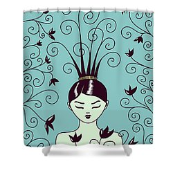 Strange Hairstyle And Flowery Swirls Shower Curtain